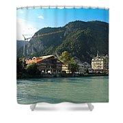 View Of Interlaken Across The Stream Shower Curtain