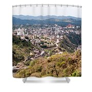 View Of Katra Township While On The Pilgrimage To The Vaishno Devi Shrine In Kashmir In India Shower Curtain
