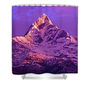 View Of Machhapuchhare At Sunrise From Shower Curtain