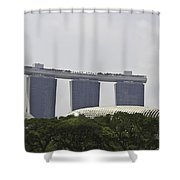 View Of Marina Bay Sands And Esplanade Building In Singapore Shower Curtain