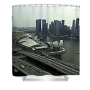 View Of Marina Bay Sands And Other Buildings From The Singapore  Shower Curtain
