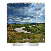 View Of River With Storm Clouds Shower Curtain