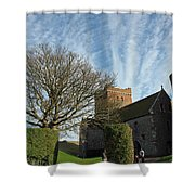 View Of St Mary Church And Clouds In Dover Castle Shower Curtain