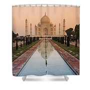 View Of Taj Mahal Reflecting In Pond Shower Curtain
