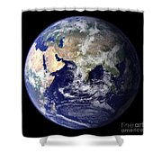 View Of The Earth From Space Showing Shower Curtain by Stocktrek Images