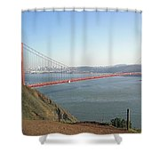 View Of The Golden Gate Bridge And San Francisco From A Distance Shower Curtain