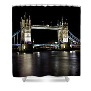 View Of The River Thames And Tower Bridge At Night Shower Curtain