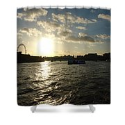 View Of The Thames At Sunset With London Eye In The Background Shower Curtain