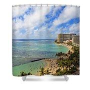 View Of Waikiki And Beach Shower Curtain