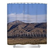 View Of Windmill Structures On A Wind Shower Curtain