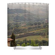 View Over The Tuscan Hills From San Gimignano Italy Shower Curtain