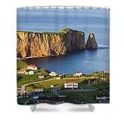Village And Perce Rock At Sunset Shower Curtain