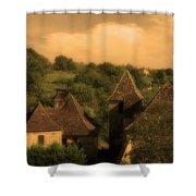 Village Of Castelnau Bretenoux In Sepia Shower Curtain