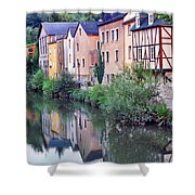 Village Reflections In Luxembourg I Shower Curtain by Greg Matchick