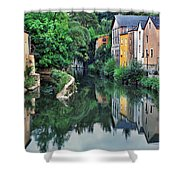 Village Reflections In Luxembourg II Shower Curtain
