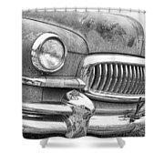 Vintage 1951 Nash Ambassador Front End 2 Bw Shower Curtain