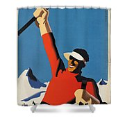 Vintage Austrian Skiing Travel Poster Shower Curtain