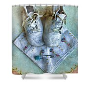 Vintage Baby Shoes And Diaper Pin On Handkercheif Shower Curtain