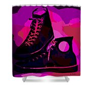 Vintage Basketball Shoes Shower Curtain