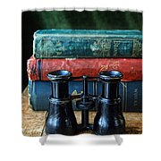 Vintage Binoculars And Books Shower Curtain