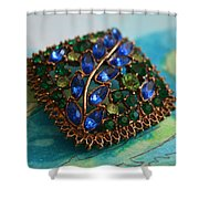 Vintage Blue And Green Rhinestone Brooch On Watercolor Shower Curtain