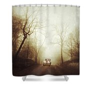 Vintage Car On Foggy Rural Road Shower Curtain by Jill Battaglia