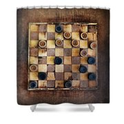 Vintage Checkers Game Shower Curtain