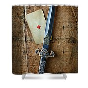 Vintage Dagger On Wood Table With Playing Card Shower Curtain