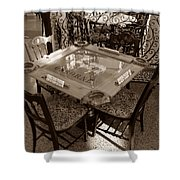 Vintage Domino Table Shower Curtain