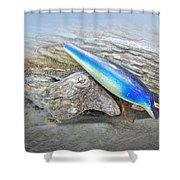 Vintage Fishing Lure - Floyd Roman Nike Blue And White Shower Curtain by Mother Nature