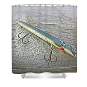 Vintage Fishing Lure - Floyd Roman Nike Lil Sandee Shower Curtain by Mother Nature