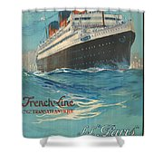 Vintage French Line Travel Poster Shower Curtain