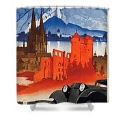 Vintage Germany Travel Poster Shower Curtain