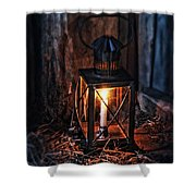 Vintage Lantern In A Barn Shower Curtain by Jill Battaglia