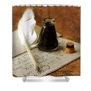 Vintage Letter And Quill Pen Shower Curtain