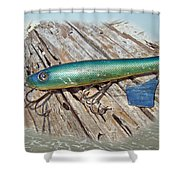 Vintage Lido Flaptail Saltwater Fishing Lure Shower Curtain