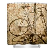 Vintage Looking Bicycle On Brick Pavement Shower Curtain