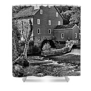 Vintage Mill In Black And White Shower Curtain