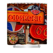 Vintage Neon Sign Oldsmobile Shower Curtain