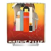 Vintage Oriental Tourist Conference Poster Shower Curtain