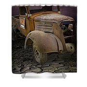 Vintage Pickup On Parched Earth Shower Curtain