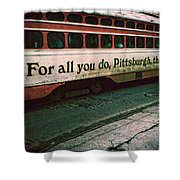 Vintage Pittsburgh Trolly Shower Curtain