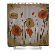 Vintage Red Poppies Painting Shower Curtain