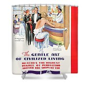 Vintage Steam Ship Travel Poster Shower Curtain