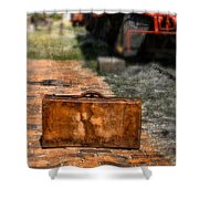 Vintage Suitcase By Train Shower Curtain