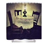 Vintage Table And Chairs By Oil Lamp Light Shower Curtain