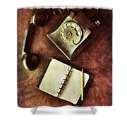 Vintage Telephone And Notebook. Shower Curtain