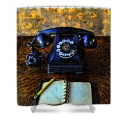 Vintage Telephone And Notepad Shower Curtain