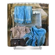 Vintage Trunk With Ladies Clothing Shower Curtain