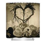 Vintage Valentine  Shower Curtain